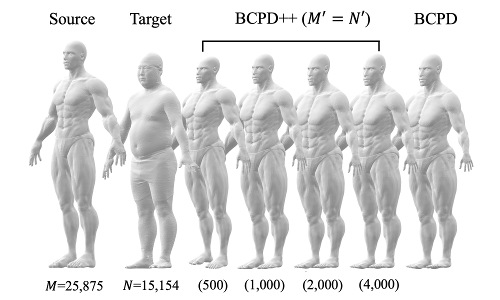A non-rigid point set applied to human body data.